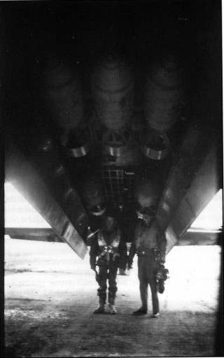 F/O Frank Roper, an American in the RCAF, and Sgt 'Ham' Hamilton beneath the cavernous bomb bay of their aircraft, spring 1942. Frank Roper retired from the USAF in 1963 as a Lieutenant Colonel and Bill Hamilton ended the war as an instructor at Bottesford.