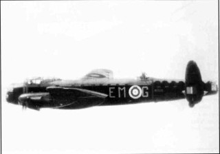 Lancaster R5509 'EM-G' of 207 Squadron, Summer 1942. Note the differing camouflage denoting a replacement tail section; this aircraft failed to return from a mining sortie off Kiel Bay in August 1942, its seven crew all being listed on the Runnymede Memorial