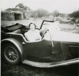Wolseley Hornet sports car - Keith Samuel's first car with Kathleen and John Samuel
