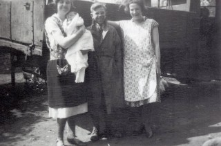 Eric Turner between Dot Samuel (holding Keith) and Mary Samuel (Keith's aunts)