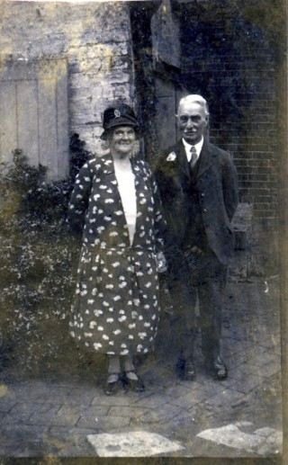 Mrs Mary Ellen and Mr William Samuel in later life standing in the yard of the Market Street Store