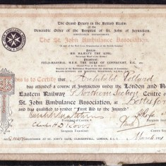 St John's Ambulance Association certificate issued to Archibald Pollard of the GNER in 1931