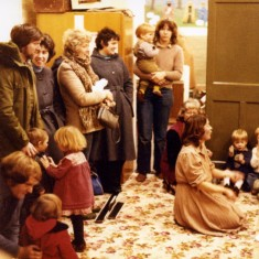 Playgroup Christmas Party - 1981  - Irene Pacey leading the children's singing as parents gathered to take them home
