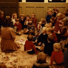 Playgroup Christmas Party - 1981  - Irene Pacey preparing to cut the Christmas cake