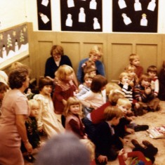 Playgroup Christmas Party - early 1980's  - Irene Pacey cutting the cake