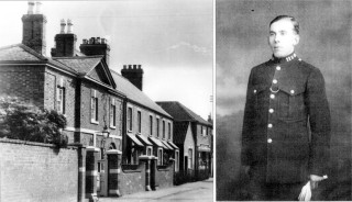 Left:Bottesford Police Station c. 1950. Right:Constable (later Sergeant) Arthur Bradshaw 1929