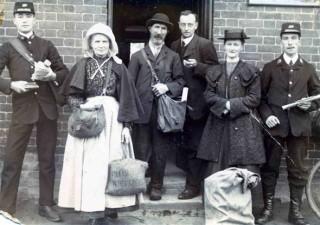 Post Office Staff in 1912 - C. Calcraft (far left); Mrs. Skillington; J. Parnham; Mr. White (Postmaster); Miss Dent or Miss Normand; and J. Rawdin (far right)