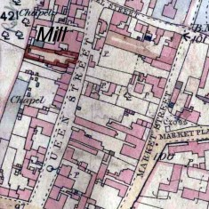 Map showing site of Queen St Mill