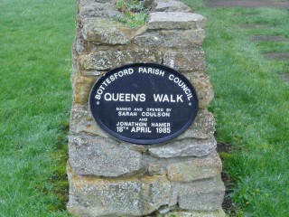 Bottesford Parish Council Queen's Walk. Named and opened by Sarah Coulson andJonathon Hamer 18th April 1985