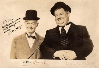 Signed photo of Laurel and Hardy.