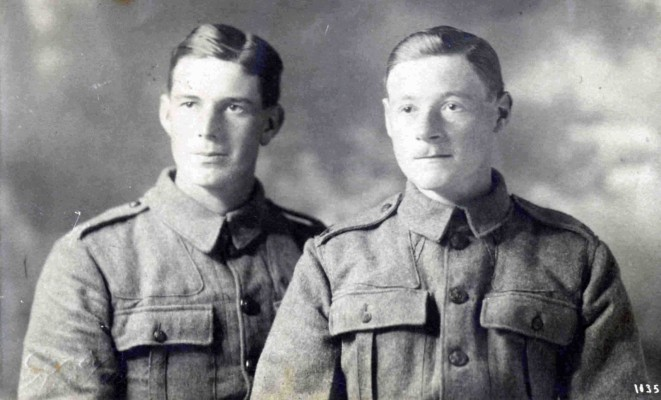 WW1 postcard (embossed K. Jacob, number 11352) showing Redginald Christmas (b. 1896) on the left and friend to the right