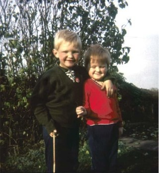 With my brother Robert in the garden at Pinfold Lane, c. 1965.