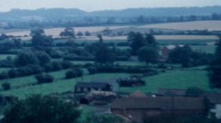 A photograph taken from the Holliers of Bottesford Church showing the area between Grantham Road and Grenery lane, which also shows classrooms 2 & 3 known as