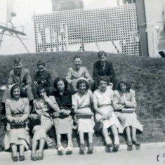 Bottesford School Festival of Britain Trip - 14th June 1951. Back Row left to right: Peter Topps, possible Frank Mumby, George Bolland, Herbert Plummer. Front row left to right: Joyce Skinner, Ann Ayling, Kathleen Moore, Janet Locke, Betty Allington, Caroline Charity