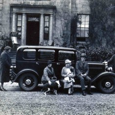 Members of the Duncan family outside Danevale House (1920s), Crossmichael, Dumfries and Galloway (formerly Kirkcudbrightshire)