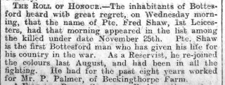 Pte. Fred Shaw Obituary 9/1/1915