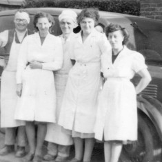 H. Simpson & Sons, Bakers, Devon Lane, 1950. Morris 12 Van. Tom Simpson, Winifred Claricoates, Cecil Briggs, Kathleen Langton, Emily Rayson.