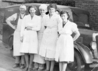 H. Simpson & Sons, Bakers, Devon Lane 1950 L. to R.Tom Simpson, Winifred Claricotes, Cecil Briggs, Kathleen Langton, Emily Rayson, in front of the Morris 12 van.