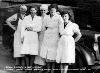 H. Simpson and Sons Bakers - staff outside the bakery on Devon Lane, Bottesford in 1950.