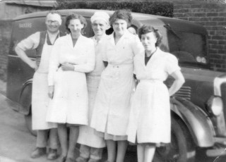 H. Simpson and Sons Bakers - staff outside the bakery on Devon Lane, Bottesford in 1950. Left to Right - Tom Simpson, Winifred Claricotes, Cecil Briggs, Kathleen Langton and Emily Rayson
