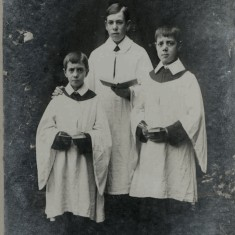 William Sutton (middle) and Bob Sutton (right) taken in c1909 with their younger brother Frank, who died in 1919 during the influenza epidemic.