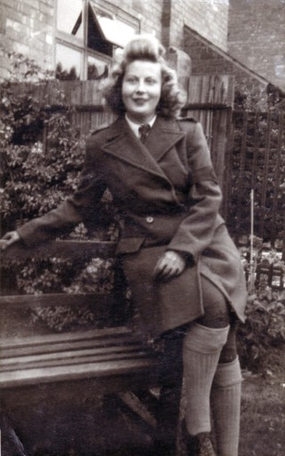Sylvia Bowman in Women's Land Army uniform, at Woodthorpe in 1942.