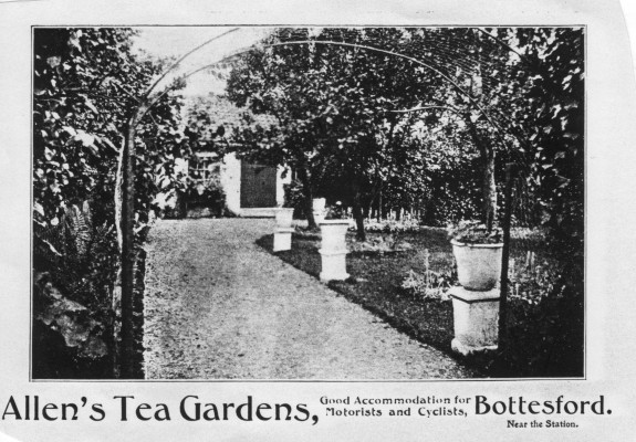 Allen's Tea Gardens served the many tourists who came to Bottesford in the early years of the C20th