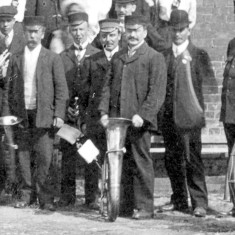Bottesford band during coronation celebrations in 1911. Bill Sutton stands behind the drum, wearing a bowler hat.