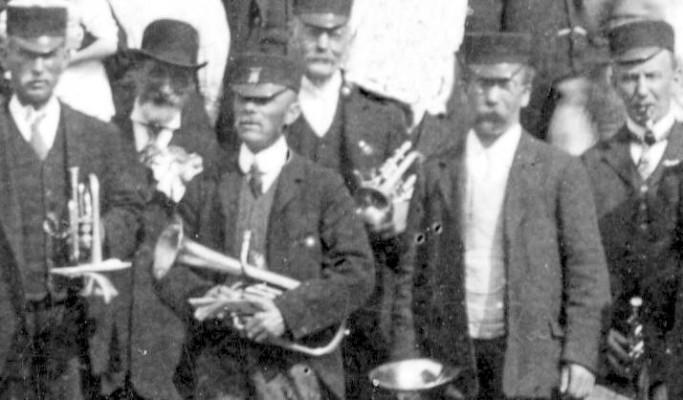 Detail of band, right to left: Mr. Allen (Tea gardens) William Turner, other names harder to match with figures,  Philip Sutton, Joe Parnham, Sam Rawdin, William Lovett