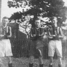 The Coy brothers playing football for Woolsthorpe-by-Belvoir about the time of WW1. Cyril (L), Walter (C) and Albert Edward (Joe, R).