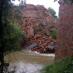 Another view of the collapsed bridge.