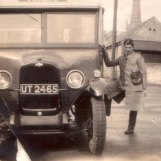 William Randell junior with a Randell's Bus
