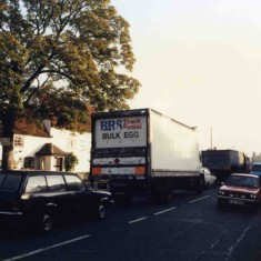 Traffic in Bottesford passing the Playgroup in the Old School building - 1980s