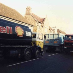 Heavy goods traffic passing the Coffee House  - mid 1980s