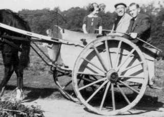 In the trap at Belvoir, 1941.  Joy with father, Frank Baggley, and right, Mr. Chettle, R.H.S.  Belvoir Farm Manager.