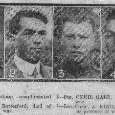 Cutting from the Grantham Journal c. 1917 showing local casualties in the Great War, notably Cyril Gale from Muston.