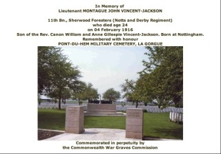 Montagu Vincent-Jackson's Commonwealth War Graves Commission entry in the 'Debt of Honour Register