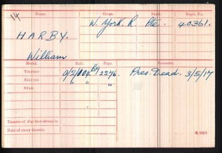 William Harby's medal card
