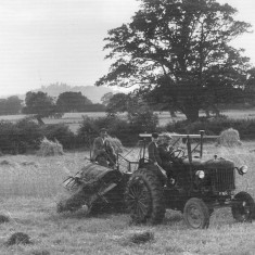 Walter Coy, Cyril Bray and his father William (Bill) Bray driving the tractor, September 1953. Belvoir Castle is in the background.