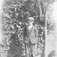 Walter Coy with his dog at Muston Gorse. c. 1910.