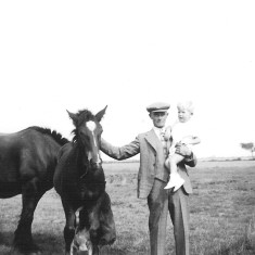 Walter Coy with my godfather John Bray, aged 2. August 1937.