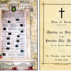 WW1 War Memorial in St Mary's, Bottesford, and the cover of the booklet for the Dedication Service, June 2nd 1921