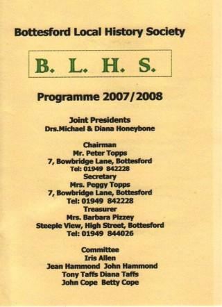 Bottesford Local History Society 2007-2008