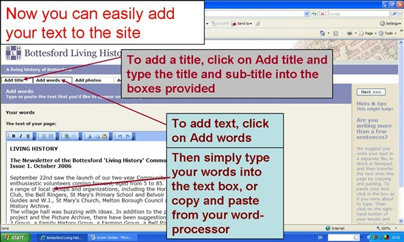 Click the 'Add title' button and type in the title and credits of your article, then click 'Add words' and type in your text (or you can copy-paste the text from your word processor).