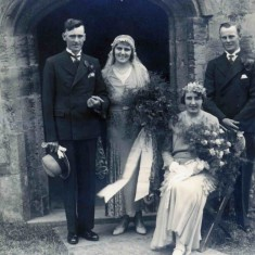 The marriage of John and Margaret Topps in 1932 with Mary and Frank as bridesmaid and best man