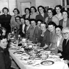 Mothers' Union party 1950s - Mary Topps seated facing the camera at the far end of the table