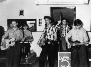 The Skiffle Group, from left to right.  John Ball, Mick Bradshaw, Nev Bagnall, Malc Langton and Frank Wilkinson.