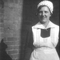 Winnie Bray photographed at Woolsthorpe-by-Belvoir whilst in service for the Rutland family. 1920's.