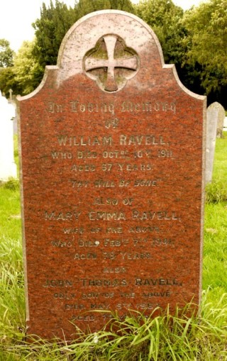 Ravell headstone, William and Mary Ravell, and their son John Thomas Ravell; Bottesford churchyard