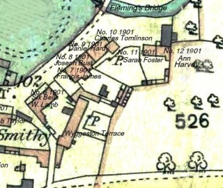 Detail from 1884 O.S. Map with probable names & house numbers from the 1901 census